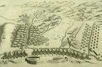 Η μάχη της Καλαμάτας μεταξύ Ενετών και Τούρκων, με τη συμμετοχή Μανιατών (1685), σε χαλκογραφία του Ενετού χαρτογράφου V. Coronelli (18ος αι.)