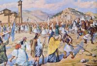 Μετά την απελευθέρωση της πόλης, στο ναό των Αγίων Αποστόλων (κρατούσα άποψη) θα τελεστεί δοξολογία, στην οποία 24 ιερείς και ιερομόναχοι ευλόγησαν τις σημαίες των αγωνιστών και τους όρκισαν για τον απελευθερωτικό τους αγώνα. Στην εικόνα αναπαράσταση της δοξολογίας, σε πίνακα του Ε. Δράκου, που βρίσκεται στο Ιστορικό και Λαογραφικό Μουσείο της πόλης.