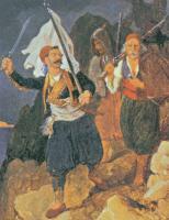 Ο Πετρόμπεης Μαυρομιχάλης με τους επαναστατημένους Έλληνες της Μεσσηνίας, έργο του Peter von Hess (Μουσείο της πόλης του Μονάχου)