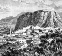 Η Καλαμάτα και το φράγκικο κάστρο (1868), σχέδιο του Th. Weber βασισμένο σε σκίτσο του Henri Belle